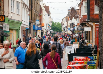 CANTERBURY, UK - JUN 1, 2013: Crowded street at Old Town of  Canterbury, UNESCO World Heritage Site and one of the most visited cities in the UK