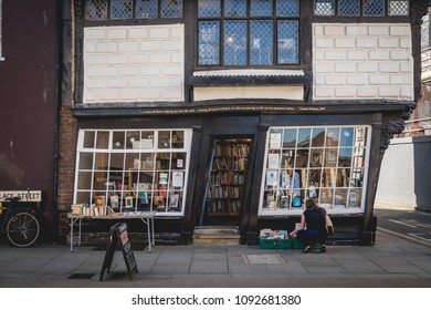 Canterbury, UK - May, 2018. The Crooked House (also known as Sir John Boys House). It is a skewed 17th century half-timbered building, the most photographed building in town after the Cathedral.