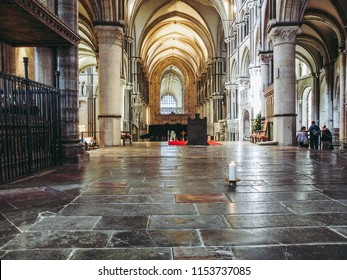 CANTERBURY, UK - SEPTEMBER 11, 2012: A candle burns continuously to mark the place where Saint Thomas Becket was murdered in Canterbury Cathedral in 1170