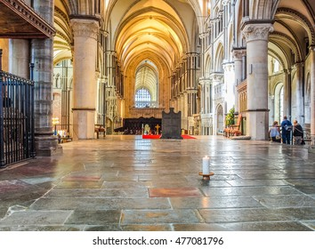 CANTERBURY, UK - SEPTEMBER 11, 2012: A candle burns continuously to mark the place where Saint Thomas Becket was murdered in Canterbury Cathedral in 1170 (HDR)