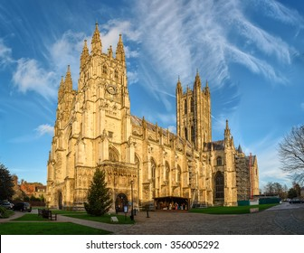 Canterbury, United Kingdom - December 23, 2015: Canterbury cathedral in sunset rays as seen on 23rd on December, 2015