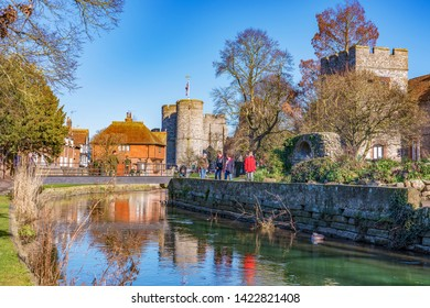 CANTERBURY, UNITED KINGDOM - FEBRUARY 23: Scenic view of nature and historic architecture along the River Stour on February 23, 2019 in Canterbury