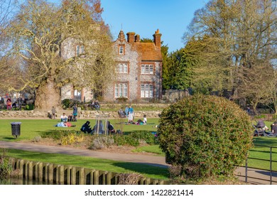 CANTERBURY, UNITED KINGDOM - FEBRUARY 23: Scenery of the Riverside park in Canterbury along the River Stour on February 23, 2019 in Canterbury