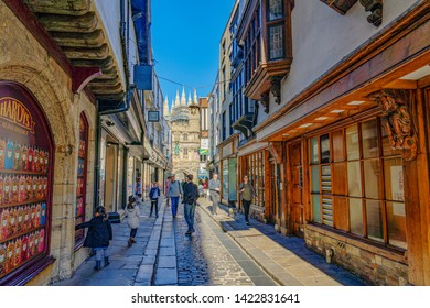 CANTERBURY, UNITED KINGDOM - FEBRUARY 23: This is street with traditional British architecture and shops in the town center on February 23, 2019 in Canterbury