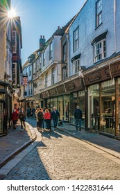 CANTERBURY, UNITED KINGDOM - FEBRUARY 23: This is a cobblestone street with traditional British architecture and shops in the town center on February 23, 2019 in Canterbury
