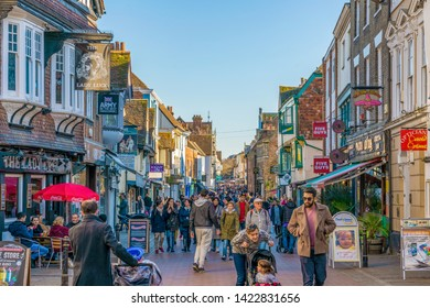 CANTERBURY, UNITED KINGDOM - FEBRUARY 23: This is one of the main shopping streets in the town center area of the city on February 23, 2019 in Canterbury