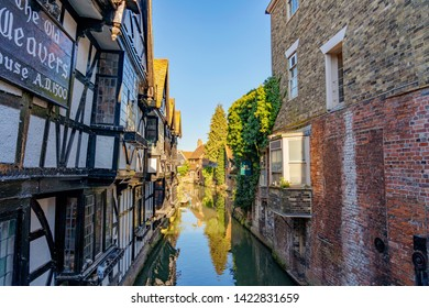 CANTERBURY, UNITED KINGDOM - FEBRUARY 23: Traditional British architecture of a pub and houses along the canal on February 23, 2019 in Canterbury