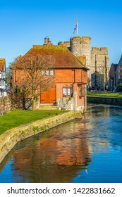 CANTERBURY, UNITED KINGDOM - FEBRUARY 23: View of a traditional old building along the River Stour, a popular travel destination on February 23, 2019 in Canterbury