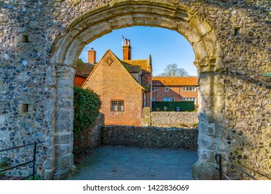 CANTERBURY, UNITED KINGDOM - FEBRUARY 23: Traditional British architecture on the River Stour in Canterbury on February 23, 2019 in Canterbury