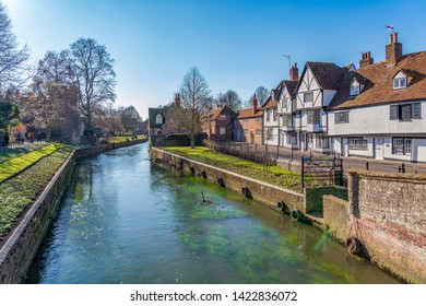 CANTERBURY, UNITED KINGDOM - FEBRUARY 23: This is a view of the canal with old medieval buildings along the River Stour, a famous travel destination on February 23, 2019 in Canterbury