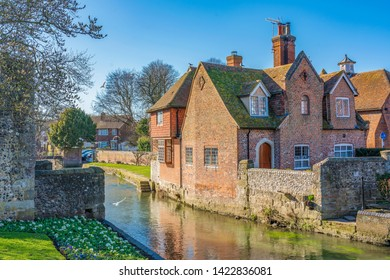 CANTERBURY, UNITED KINGDOM - FEBRUARY 23: This is a view of traditional British architecture and nature along the River Stour on February 23, 2019 in Canterbury