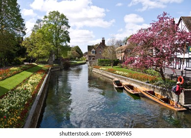 CANTERBURY,UK-APRIL 17: The  beautiful Westgate  Gardens next to the river Stour in the historic city of Canterbury.Canterbury has just been crowned UK's city of Romance.April 17 2014, Canterbury UK