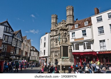 CANTERBURY,UK-APRIL 17: The Gates of Canterbury Cathedral and the Buttermarket  Canterbury's historic centre, a UNESCO World Heritage site and top visitor destination. April 17, 2014 Canterbury UK