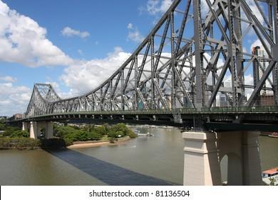 Cantilever bridge - Story Bridge in Brisbane, Queensland, Australia. Steel truss design.