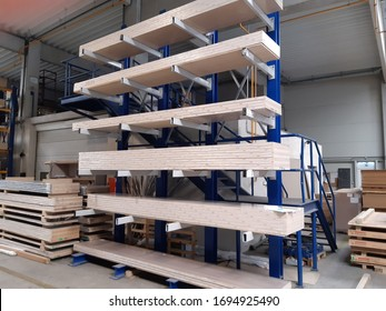 cantilever racks wooden boards logistic