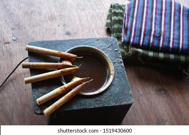 Canting and Batik wax liquid to make batik,  tradisional Indonesia fabric. Canting is kind of pen to draw for batik