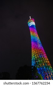 Canton, China - 12/11/2017: Canton tower colourful illuminated at night
