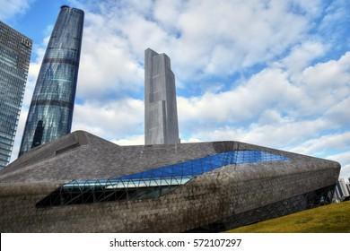 CANTON, CHINA – CIRCA JANUARY 2017: Guangzhou Opera House in Canton is a Chinese opera house designed by Iraqi architect Zaha Hadid, opened in 2010.