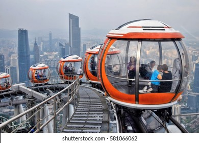 CANTON, GUANGDONG PROVINCE, CHINA - CIRCA JANUARY 2017: Canton Tower cable car viewpoint from the rooftop observation deck.