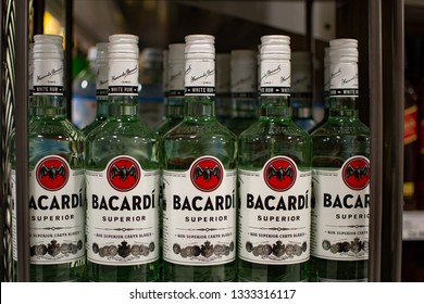 Canton, MICHIGAN, USA - March 8, 2019:  Bottles of Bacardi rum sit on a shelf to be sold. Bacardi is recognized as the world's most mixable spirits and is used in countless cocktails around the world.
