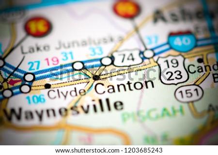 Canton North Carolina Usa On Map Stock Photo Edit Now 1203685243