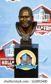 CANTON, OH-AUG 3: The bust of former defender Curley Culp on display during the NFL Class of 2013 Enshrinement Ceremony at Fawcett Stadium on August 3, 2013 in Canton, Ohio.