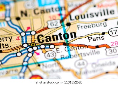 Canton. Ohio. USA on a map