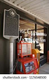 Canton, TX - March 10, 2012: The Canton Herald Newspaper with historical marker located in downtown Canton, TX