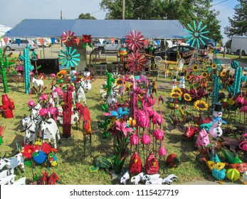 CANTON, TX, USA - November 3, 2017: Recycled Scrap Metal Yard Art at Flea Market in Canton, Texas. Unique beautiful decorative folk masterpieces at the marketplace - First Monday Trade Days.