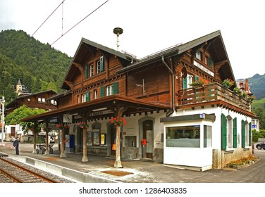 CANTON OF VAUD. SWITZERLAND. 21 JUNE 2009 : Railway station in Les Avants village. Canton of Vaud. Switzerland
