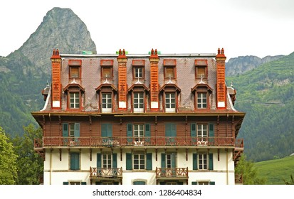 CANTON OF VAUD. SWITZERLAND. 21 JUNE 2009 : Fragment of house in Les Avants village. Canton of Vaud. Switzerland