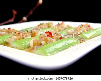 A Cantonese dish in Guangdong China the loofah steamed bamboo king