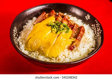 Cantonese food - hainan chicken and bbq red pork (char siu) with rice