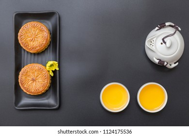 Cantonese style moon cake still life close-up