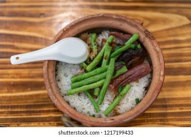 Cantonese style waxy claypot rice