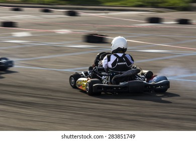 Cantu , Italy -7 September 2014 : exhibition open to the public go-kart : panning extreme
