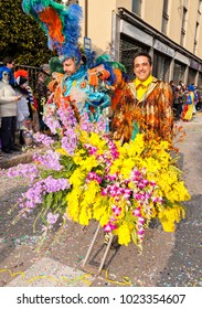 CANTU - ITALY - February 11, 2018: Traditional carnival. Flowers. Carnival of COMO LAKE