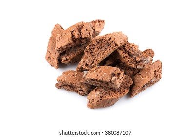 Cantucci with chocolate pieces isolated on white background