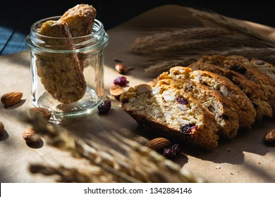 Cantuccini cookies. Traditional italian biscotti with almonds and cranberry.