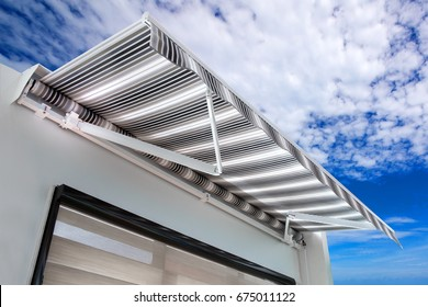 Canvas awning with a sky background