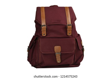 Canvas Backpack accessories isolated hipster background white. brown with navy canvas bag. Hand made backpack for travelers. front view