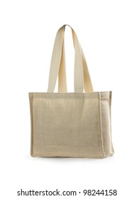 canvas beach bag on a white background. Isolated path included