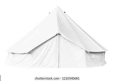 Canvas bell tent isolated on white background