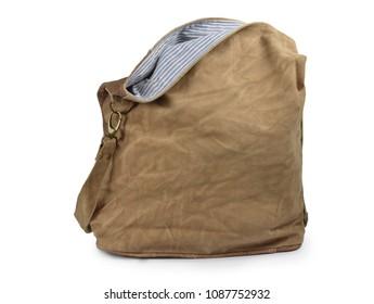 Canvas fashion bag women brown handbag on white background isolated