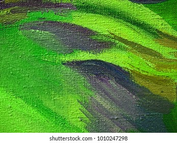 Canvas with hand drawn abstract olive drab, yellow green and light green color pastel or oil paint smears, lines, spots and geometric figures.