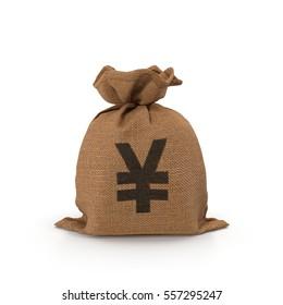 Canvas money sack with Yen symbol on white. 3D illustration