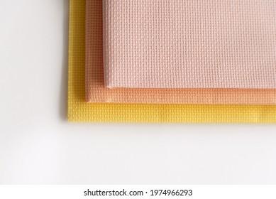 Canvas for needlework aida 14 yellow, pink, peach. Cross Stitch