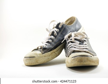 canvas old shoes with white background