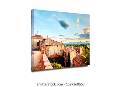 Canvas photo print isolated on white background. Colorful photography with gallery wrap. Photo printed on glossy canvas
