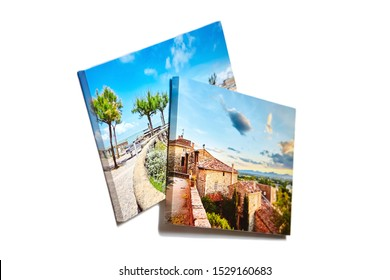 Canvas photo prints isolated on white background. Gallery wrap. Colorful photographs printed on glossy canvas